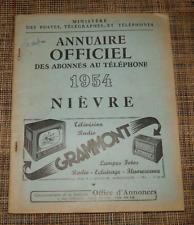 Annuaire officiel des abonnés au téléphone 1954 Nièvre AB état