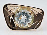 antiker Art Deco Marken Ring 2,29 Karat Aquamarin 585 Gold IGI Expertise