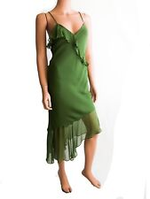 Haute Hippie Sleeveless  Green Midi Cocktail Silk Dress Size S