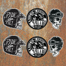 Biker Laminated Sticker set Motorbike Motorcycle Helmet Rockers Rockabilly decal