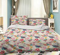 3D Cartoon Bird Floral Quilt Cover Set Pillowcases Duvet Cover 3pcs Bedding 352