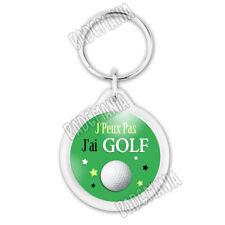 Porte-Clés Plastique J'Peux Pas J'ai Golf - Balle de Golf fond vert