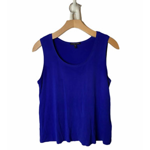 Eileen Fisher Royal Blue Silk Crepe Washable Scoop Tank Top Petite Small
