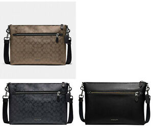 🌸NWT Coach Graham Soft Messenger Signature Leather shoulder bag laptop