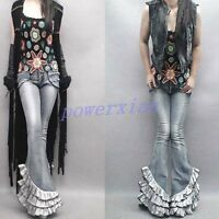 Womens Retro Denim Riding Long Cowboy Tassels Jeans Motorcycle Bell-bottom Pants