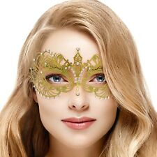 Gold Lace Metal Luxury Masquerade Venetian Mask Clear Diamante Fancy Dress