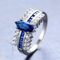 2.5ct Marquise Blue Sapphire Antique Engagement Ring 14k White Gold Over Women