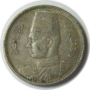elf Egypt Kingdom 2 Piastres AH 1356 AD 1937 Silver Farouk