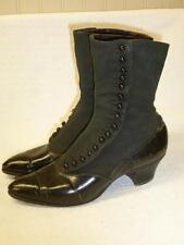 Antique Victorian Woman's Leather SHOES Button-Up Black w Label STYLISH STOUT