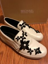 NEW $125 Michael Kors Lola Slip On Leather Optic White/Black Flowers Slip On 8.5