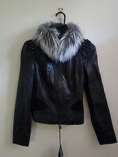 CAPITOL Black Butter soft Lamb Skin Leather w fox fur collar 6 36 0 S Rrp799 New