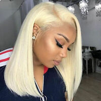 Remy Indian Human Hair Lace Front Wig Short Straight Bob Full Wigs Baby Hair