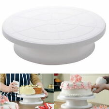 Turnable Rotating Revolving Birthday Cake Plate Turntable Cake Decorate Stand VP