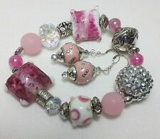 Handmade Pink Party Bling Stretch Bracelet & Earring Set SS French Wire