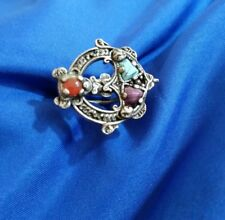 """1"""" wide handcrafted blue purple orange stone silver tone ring size 6"""