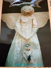 "PRIMITIVE FOLK ART CLOTH SNOW ANGEL DOLL SEWING PATTERN, CRAFTS 33"""