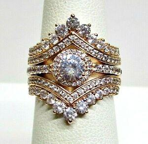 Rose Gold-tone Pandora Princess Wishbone Ring Set 3 in 1 Wedding Bridal Set w/CZ