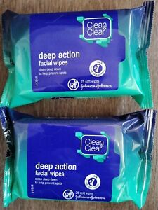 2x Clean & Clear Deep Action Facial Wipes 25 Wipes each pack 🥰