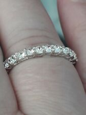 Cubic Zirconia Full Eternity Band Ring Size T Sterling Silver Anniversary