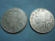 AUSTRIA lot 2 x 10 schilling coins 1958 & 1971 VF/ aUNC silver