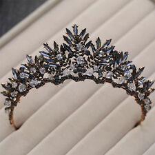 Black Crystal Vintage Wedding Bridal Crown Headbands Tiara Prom Hair Accessories