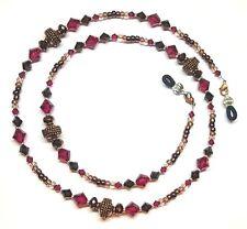 Copper Rope Fuchsia & Mocca Swarovski Crystal Eyeglass Chain Holder