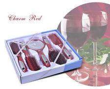 5 piezas de Estilo de Pelo Salón Profesional Cepillo Peine Kit Conjunto de Regalo Con Espejo Rojo