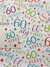 WHITE/MULTI AGE 60 60TH SIXTY BIRTHDAY GIFT WRAPPING PAPER 2 SHEETS+1 TAG- BGC