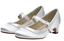 Rainbow Club Maisie Plain White Satin Girls Holy Communion Shoes UK Sizes 11 - 5