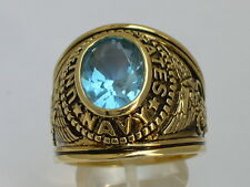 12x10 mm United States Navy Military March Aqua Marine Stone Men Ring Size 14