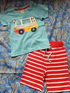 Frugi Ice Cream Van Tshirt And Matching Stripe Shorts 3-4 Years
