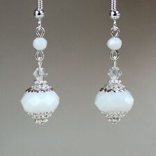 Opaque white crystal vintage silver drop dangle earrings wedding bridesmaid gift