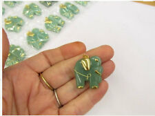 Carved Jade Green Adventurine Elephant Pendant Briolette Gold Bead