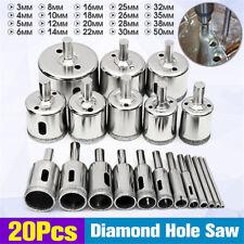 20 PCS 3-50mm Diamond Drill Bit Set Hole Saw Cutter Tool Glass Marble Granite