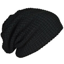 Mens Slouchy Long Beanie Knit Cap for Summer Winter Oversize black B8S3