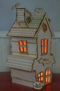 Wooden Model Laser Cut Halloween Haunted Bat House 3d puzzle kit