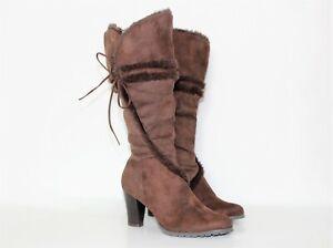 Faux Fur High Heel Boots Below the knee Coffee Brown Size 8