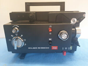 ELMO K100-SM DUAL 8mm SILENT MOVIE PROJECTOR. ZOOM LENS, NEW LAMP.  SERVICED A1