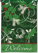 "Christmas Scrolls Welcome Message Holiday Small Decorative Banner Flag 12.5""x18"""