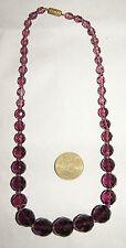 collier ras de cou ancien perles à facettes en verre violet