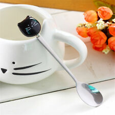 New Black Kitty Cat Spoon Tea Coffee Ice Cream Stainless Steel+ Porcelain