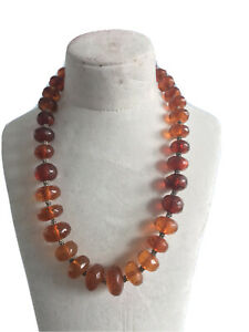 Vintage Amber bead silver bead necklace 54 grams