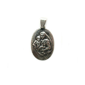 Sterling silver religious pendant solid hallmarked 925 Mother of God PE001357
