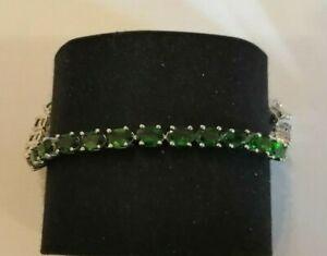 Sterling silver and chrome diopside tennis bracelet -  16.1 gms