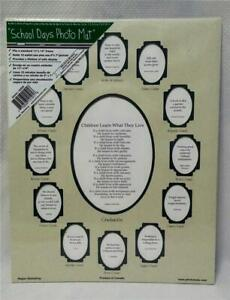 """School Days Collage Deluxe Photo Mat 11"""" x 14"""" K thru 12 Two-Tone Green*Poem*New"""