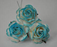 25 CYAN WHITE HYBRID TEA ROSE Mulberry Paper weddings crafts cardmaking
