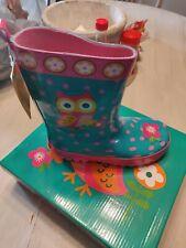Girls Size 12 Stephen Joseph Owl Rain Boots  Multi Colored