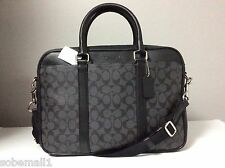 Coach Signature Charcoal and Black Slim Briefcase F71794 Msrp $495.00