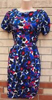 BLUE RED BLACK WHITE ABSTRACT LEOPARD A LINE FLIPPY SKATER SILKY FEEL DRESS M L