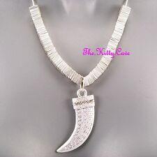 Greek Key Tribal Horn Claw Tusk Fang Safari Silver Necklace w/ Swarovski Crystal